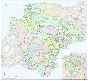 Map of Devon electoral boundaries