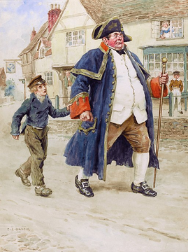 Mr Bumble and Oliver Twist, by Charles Edmund Brock